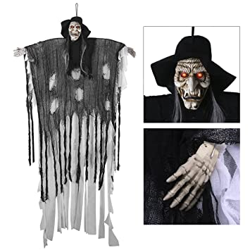 Amazon.com: 6-Ft Animated Halloween Props, YUNLIGHTS Voice ...