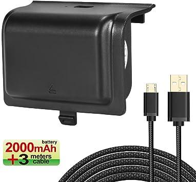 Batería de Controlador Xbox One Batería Recargable 2000mAh KINGTOP ...