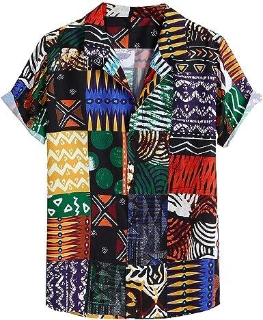 Camisa Manga Corta Hombre Hawaiana Casual Étnico Vintage Estampado Hawaii Camisas Cuello Vuelto Botones Camisetas Blusa Polos Shirt Playa Ropa: Amazon.es: Ropa y accesorios