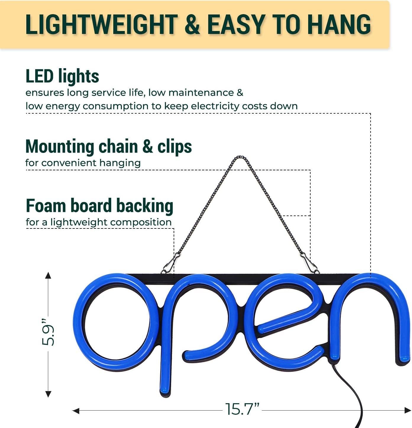 Bright LED Open Sign with ON /& Off Switch LED Neon Open Sign for Business Lightweight /& Energy Efficient for Restaurants Offices Retail Shops Window Storefronts Red-Yellow-Green-Blue