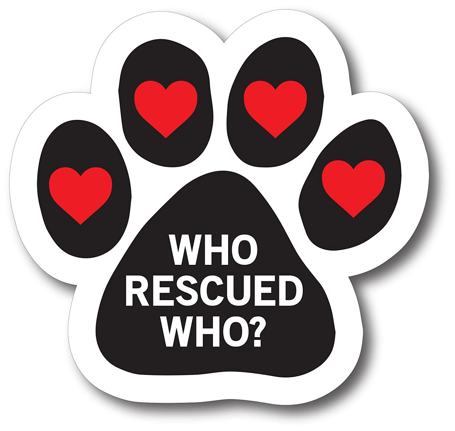 Magnet Me Up Who Rescued Who Pawprint Car Magnet Paw Print Auto Truck Decal Magnet