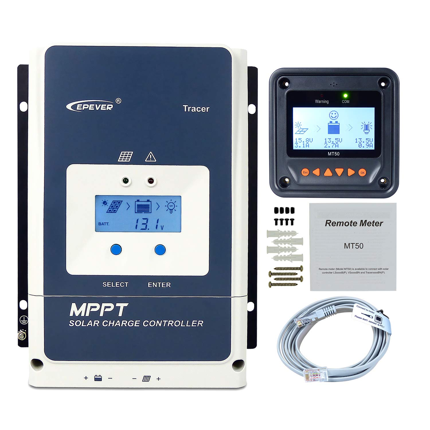 EPEVER MPPT Charge Controller 50A MT50, 48 36 24 12V Auto Max PV 150V Input 2500W Solar Panel Charge Controller Negative Ground Solar Regulator fit for Sealed Gel Flooded AGM Battery Tracer5415AN