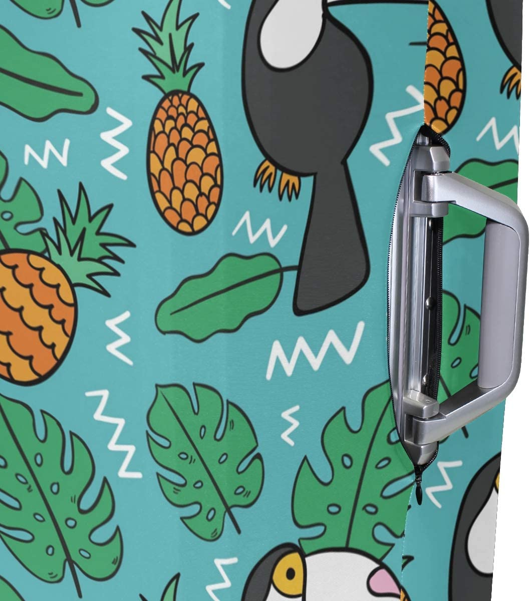 Baggage Covers Tropical Leaves Toucans Pineapples Washable Protective Case