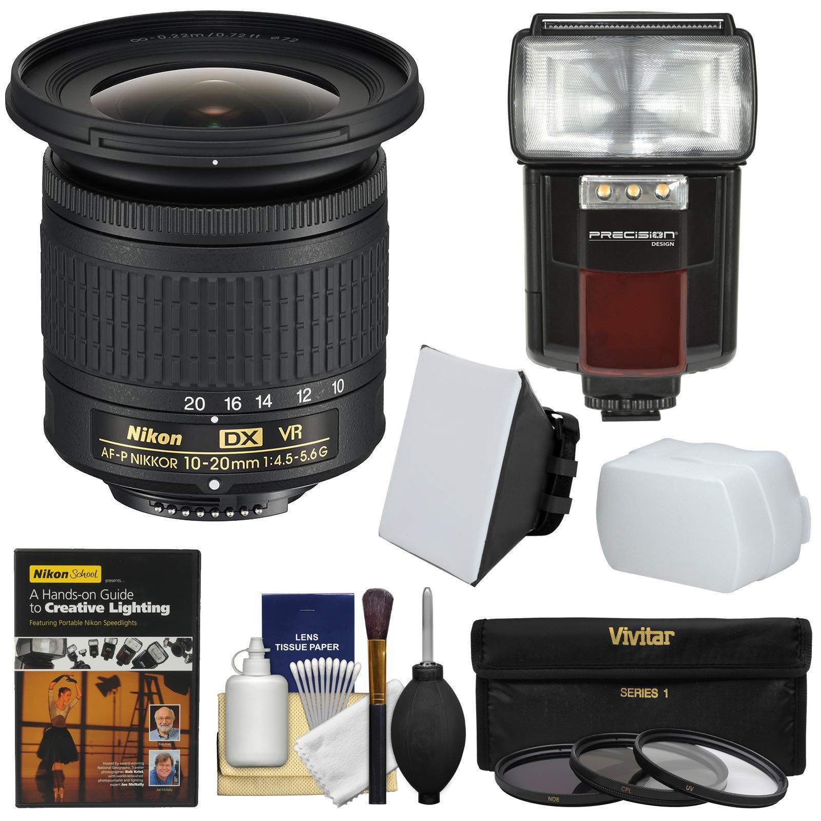 Nikon 10-20mm f/4.5-5.6G DX AF-P VR Zoom-Nikkor Lens with 3 UV/CPL/ND8 Filters + Flash & Video Light + Diffuser + Soft Box + Lighting DVD + Kit