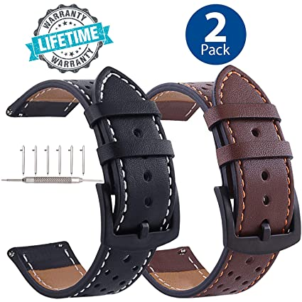 Galaxy Watch 46mm Leather Bands Quick Release, Black Buckle 22mm Watchband Replacement Strap Business Bracelet for Samsung Gear S3 ...