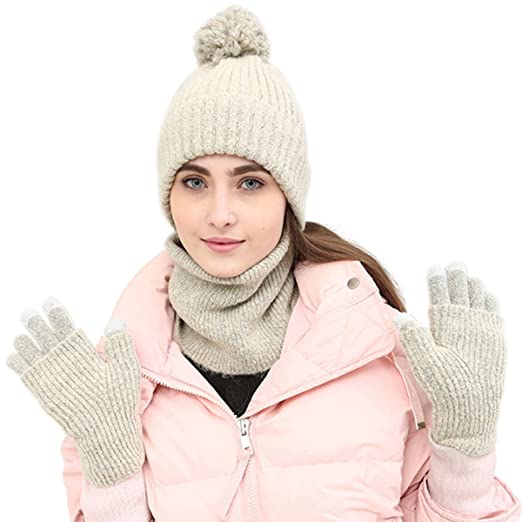 8d412db1b0b Lanzom Winter Warm Women Lady 3 PCS Knitted Set Knit Hat + Scarf + Touch  Screen