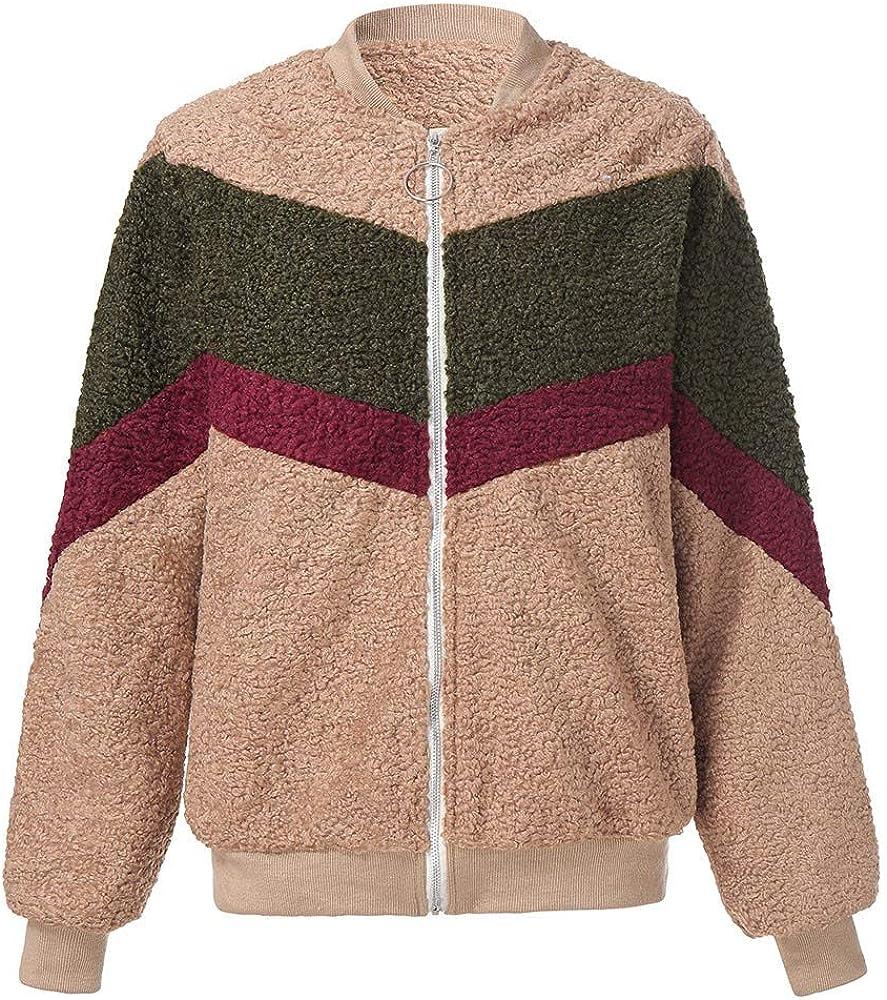 Miuye yuren Striped Stitching Shaggy Fuzzy Fleece Parkas Anoraks Outwear Casual Zipper Warm Winter Coats Jackets