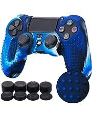 Pandaren STUDDED Silikon Hülle Anti-Rutsch für PS4 controller x 1 (Tarnung blau) + FPS PRO thumb grips aufsätze x 8