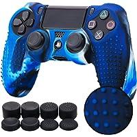 Pandaren® TACHONADO de silicona Fundas protectores de piel antideslizante para el PS4 Mando x 1 (camuflaje azul) + FPS PRO thumb grip x 8