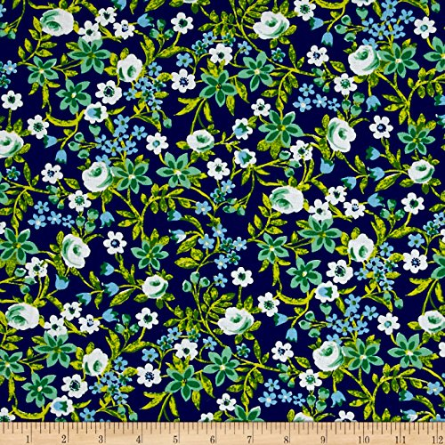 Santee Print Works Botanical Garden Floral Navy Fabric by The Yard,