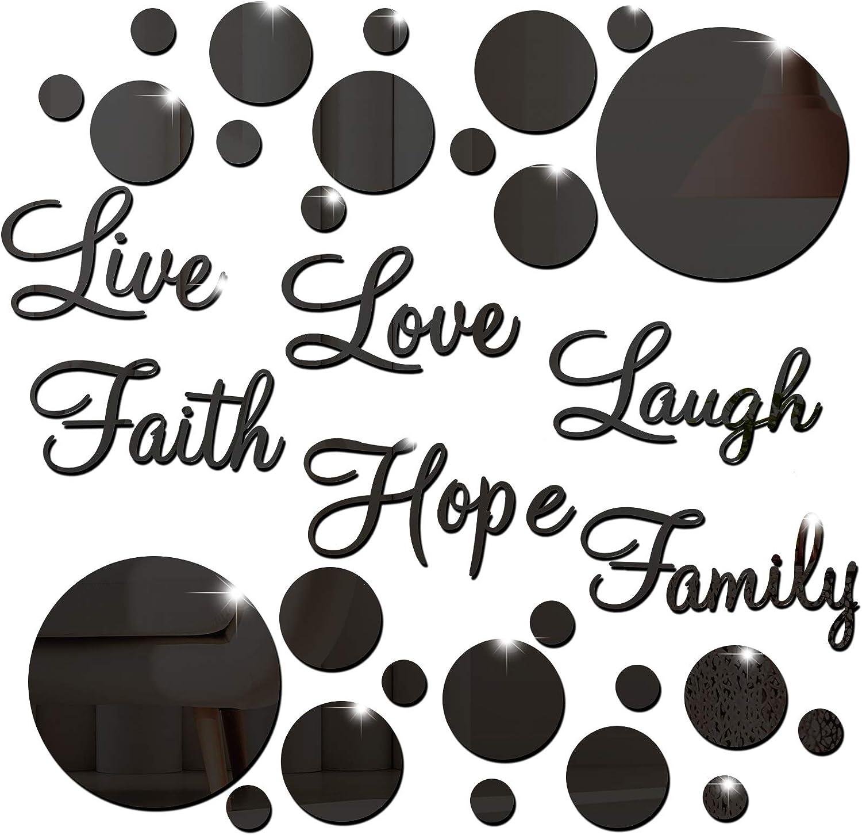 3D Acrylic Mirror Wall Decor Stickers Diy Faith Live Laugh Hope Love Family Mirr