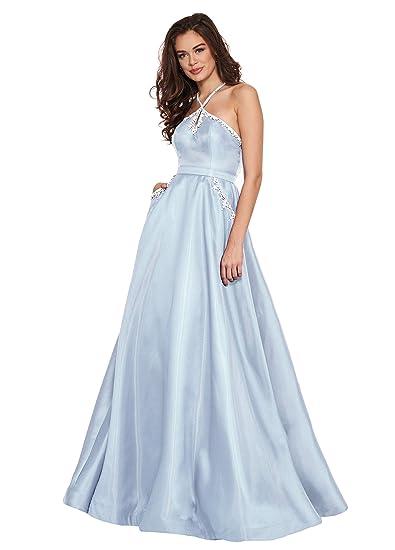 4864ac41ed85 Women's Deep V Back Beaded Satin Party Evening Dress Halter Floor Length Prom  Dress Bady Blue