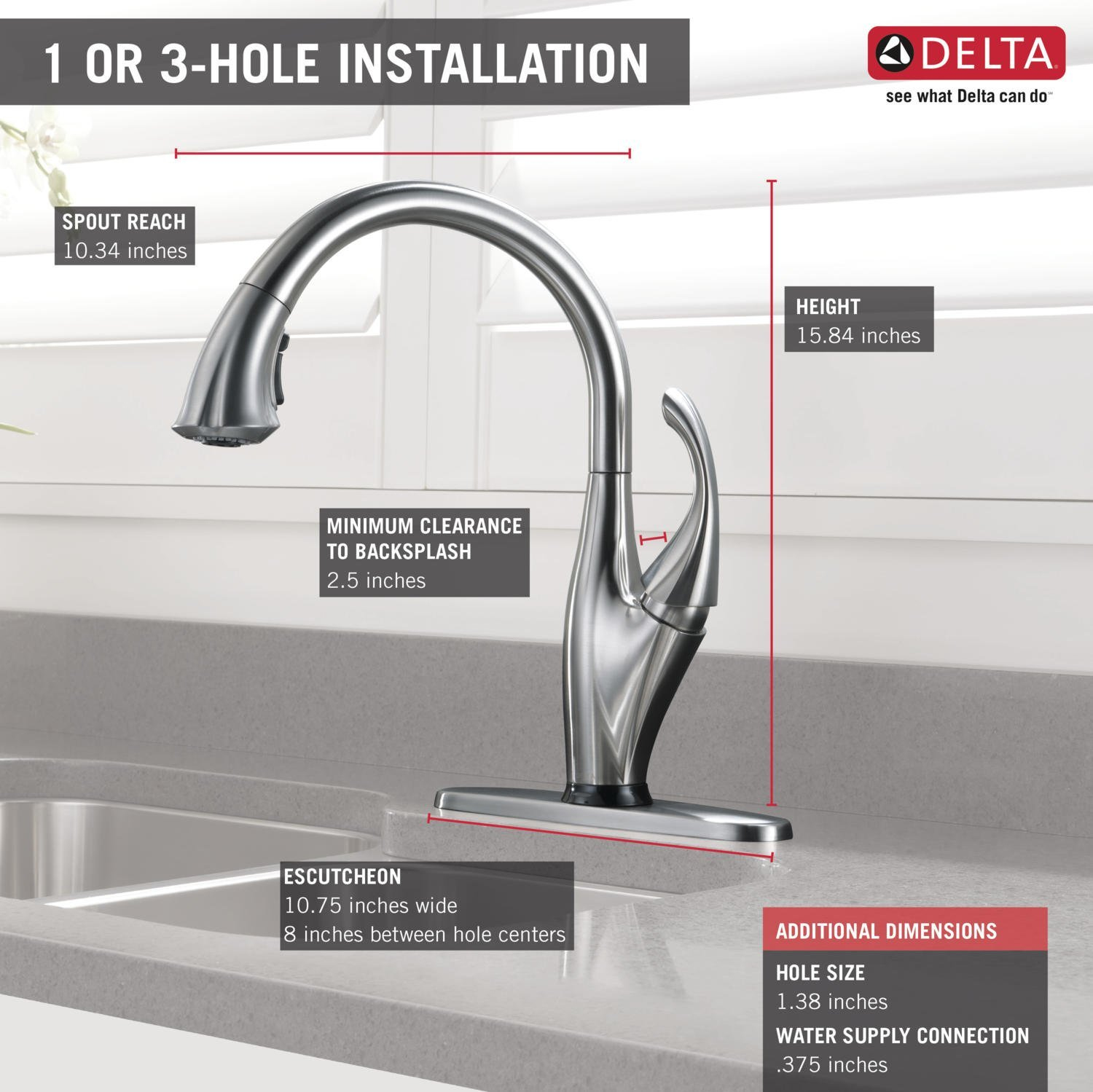 Delta Faucet 9192T-SD-DST Addison Single Handle Pull-Down Kitchen Faucet with Touch2O Technology and Soap Dispenser, Chrome by DELTA FAUCET (Image #3)