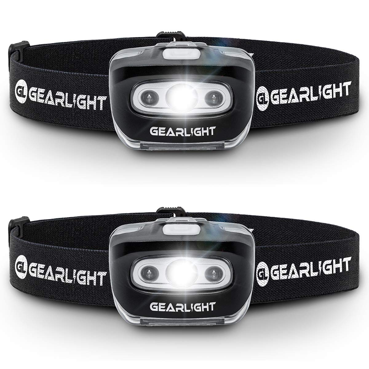 GearLight LED Headlamp Flashlight S500 [2 PACK] - Running, Camping, and Outdoor Headlamps - Best Head Lamp with Red Safety Light for Adults and Kids by GearLight
