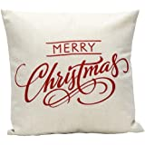 "Wonder4 Sofa Pillow Case, Merry Christmas Decorative Pillow Cover 18 x 18"" cotton linen fabric (I)"