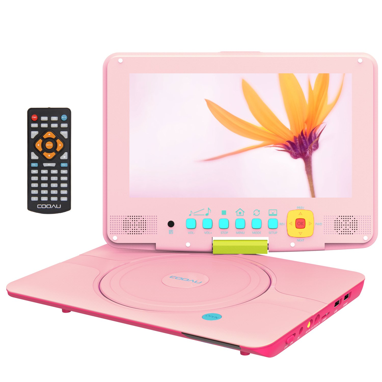 COOAU 12'' Kids Portable DVD Player with 9'' Swivel Screen, 5 Hours Rechargeable Battery, Remote Controller, Car Charger, Support TF Card/USB/Sync Screen/1080P Video Playback, Pink