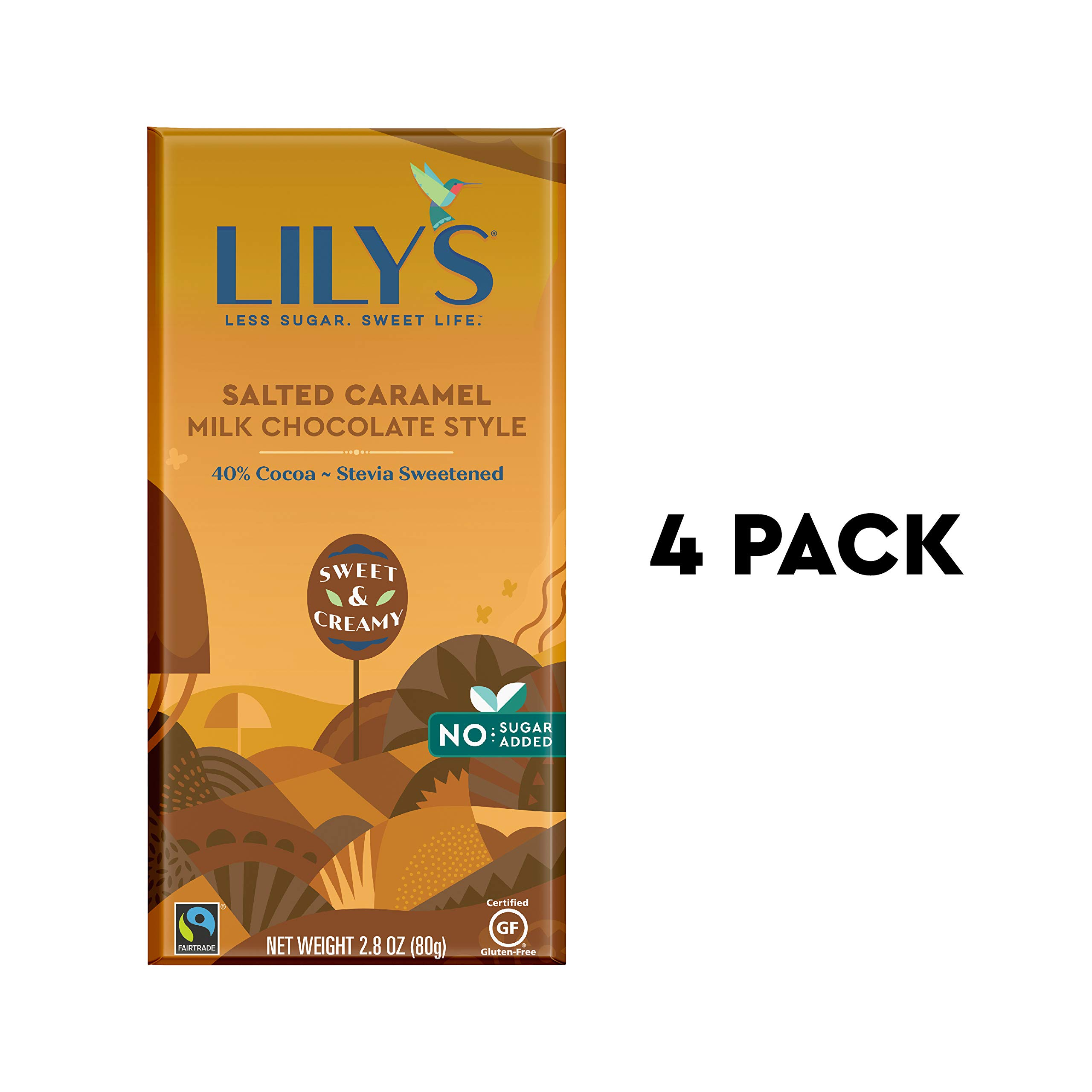 Caramelized & Salted Milk Chocolate bar by Lily's Sweets | Stevia Sweetened, No Added Sugar, Low-Carb, Keto Friendly | 40% Cacao | Fair Trade, Gluten-Free & Non-GMO | 2.8 oz, 4 Pack by Lily's (Image #1)