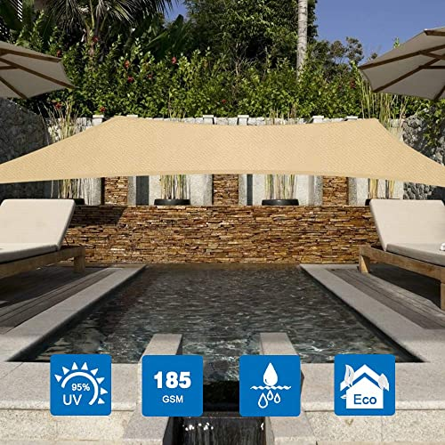 Innoo Tech Sun Shade Sail Rectangle, 9.8 x 6.6 HDPE Awning 95 UV Block Canopy Awning with 4 Carabiners and 4 Ropes for Outdoor Patios Garden Backyard Hammock Pergola Decking Swimming Pool
