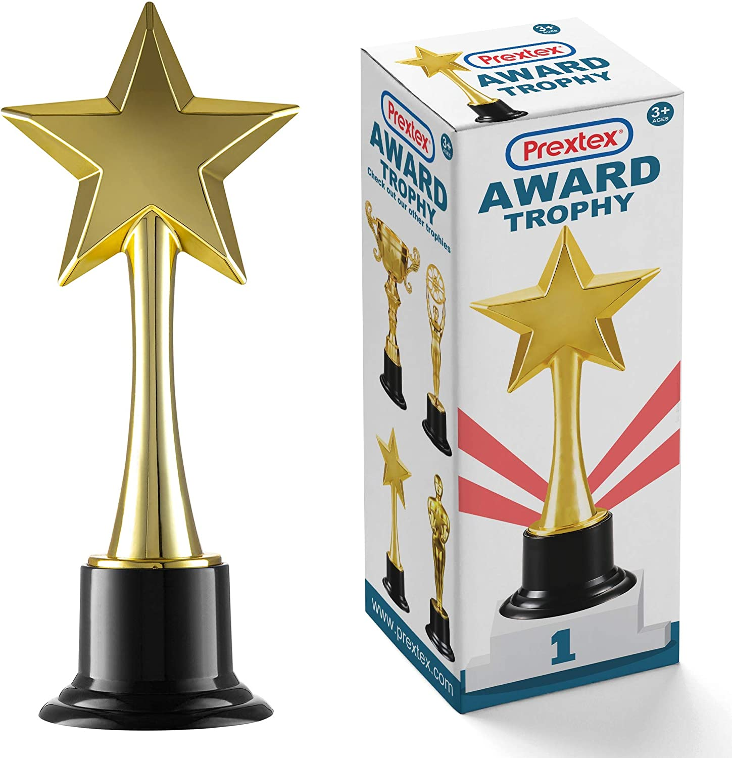 Prextex 10-Inch Gold Star Award Trophy for Trophy Awards and Party Celebrations, Award Ceremony and Appreciation Gift