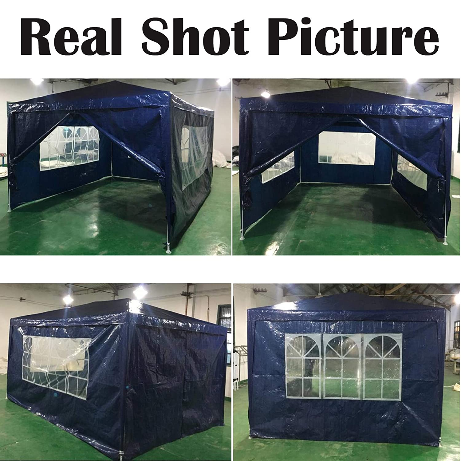Blue PE Gazebo Marquee Awning Tent Canopy for Outdoor Wedding Garden Party 3x3m Fully Waterproof, 3x6m AutoBaBa Garden Gazebos 3x3m, With Zip Up Side Panel 3x4m