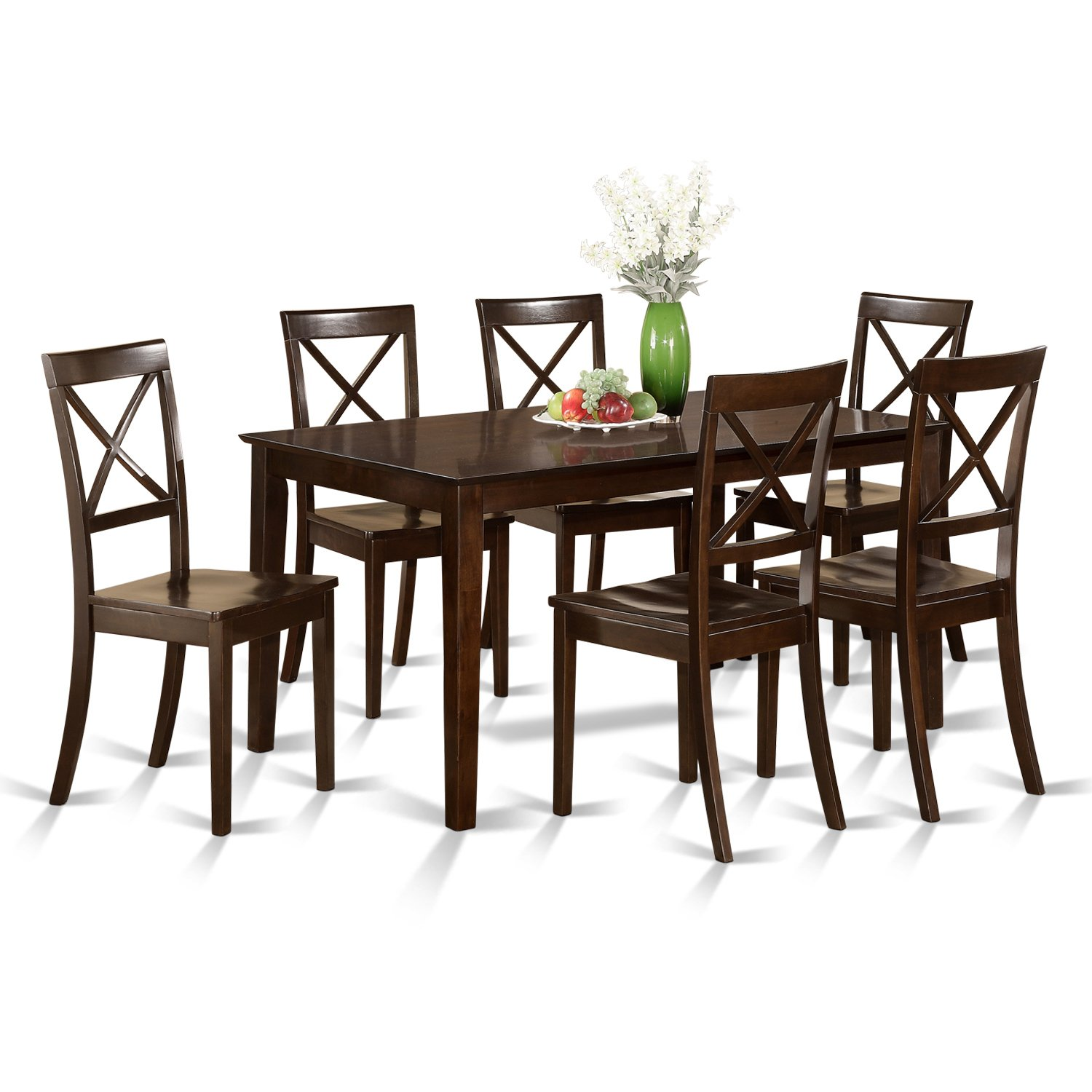 CAB7S-CAP-W 7 Pc formal Dining room set – Table and 6 formal Dining Chairs