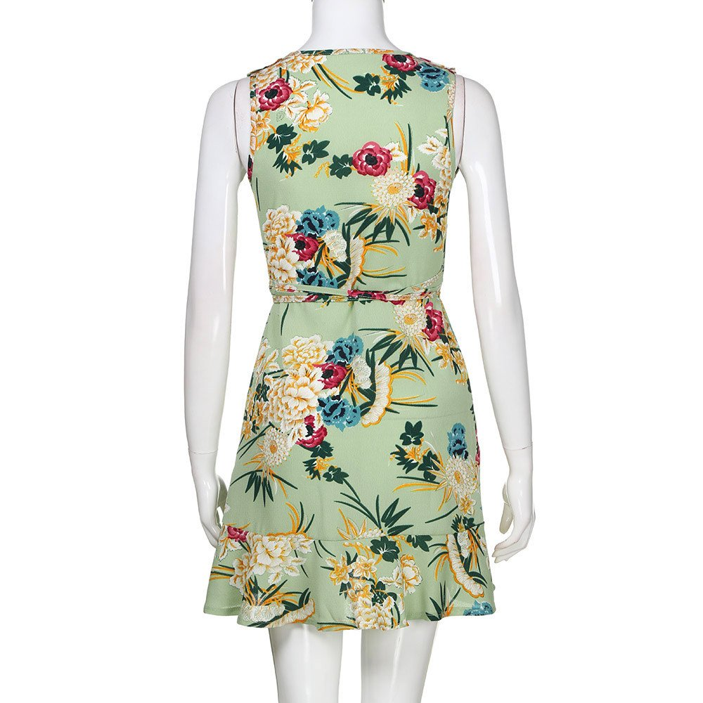 Dresses for Women Work Casual,Summer Dresses for Women,Women's Dresses Spaghetti Strap Floral Print A Line Mini Dress Green by Wugeshangmao Dress (Image #4)
