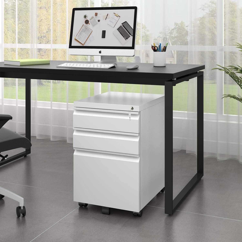 DEVAISE 3 Drawer Metal File Cabinet Locking Filing Cabinet ...