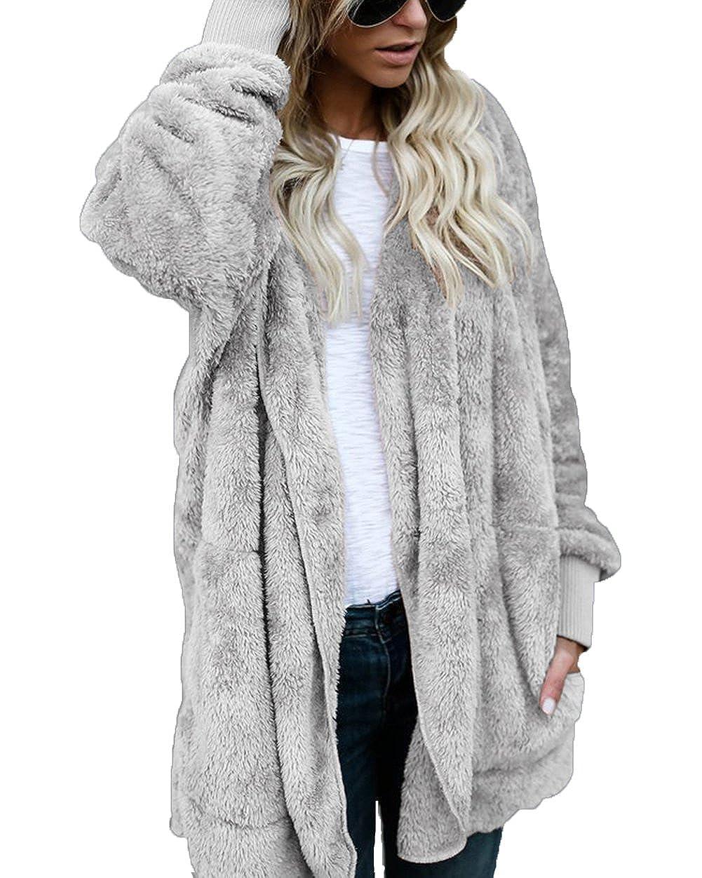 ThusFar Women Fuzzy Fleece Jacket Open Front Hooded Cardigan Coat Outwear Pockets