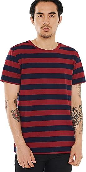 Camiseta de rayas para hombre color rojo y negro y azul y negro