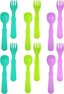 product image for RE-PLAY Made in The USA 12pk Fork and Spoon Utensil Set for Easy Baby, Toddler, and Child Feeding in Aqua, Lime Green and Purple | Made from Eco Friendly Heavyweight Recycled Milk Jugs | (Mermaid)