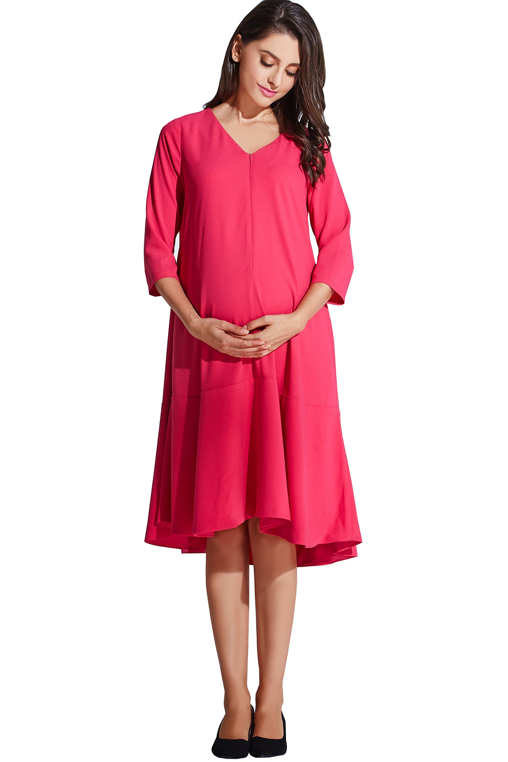 Sweet Mommy Maternity and Nursing Free Fit Baby Shower Dress Hot Pink, M by Sweet Mommy (Image #4)