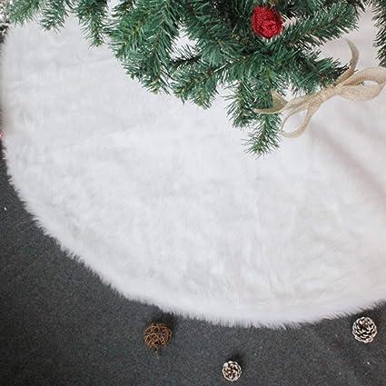junmu 30 inch christmas tree skirt pure white plush faux fur xmas tree skirt for - Amazon White Christmas Decorations