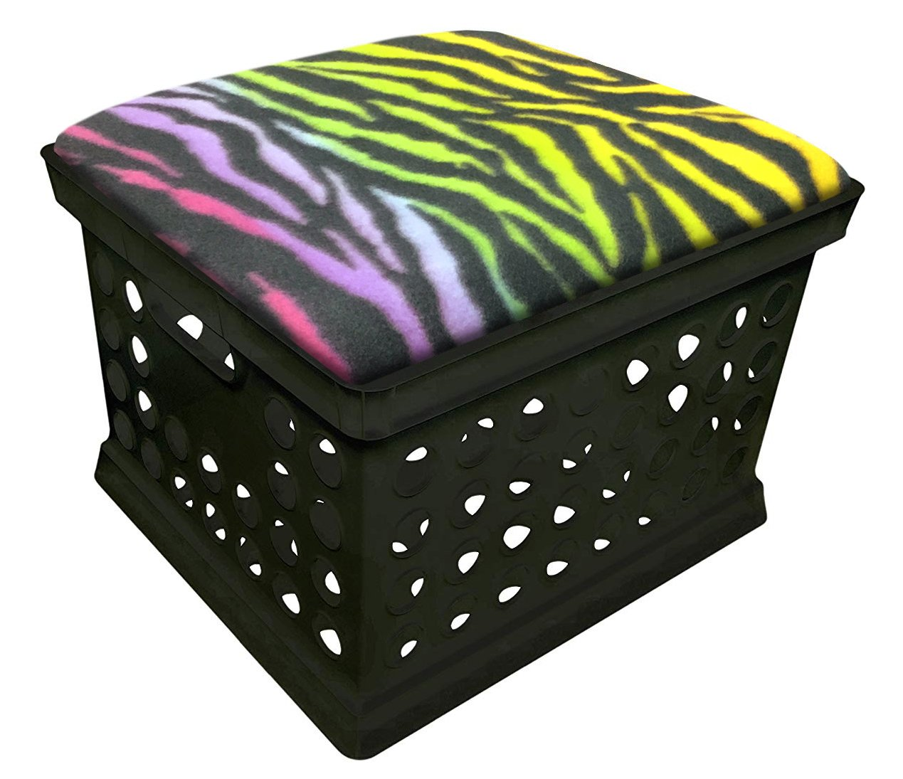 Black Utility Crate Storage Container Ottoman Bench Stool for Office/Home/School/Preschool with Your Choice of a Colorful Zebra Pattern Fleece and a Free Flashlight! (Rainbow)