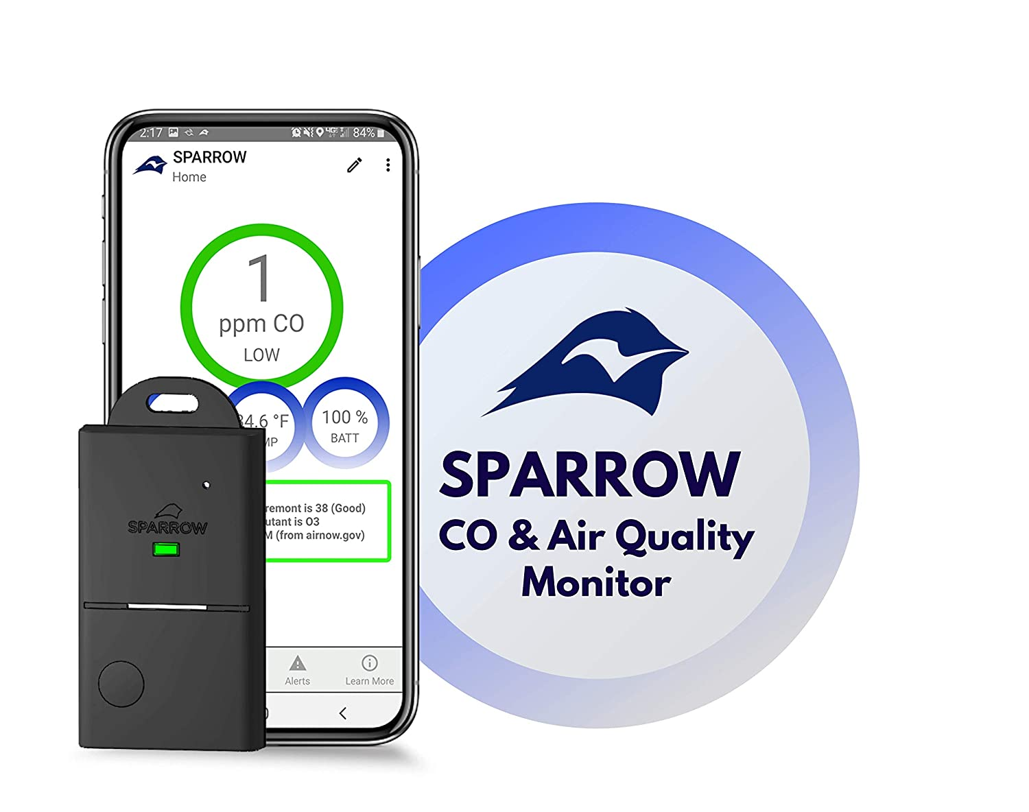 CO /& Air Quality Monitor by Eco Sensors Sparrow