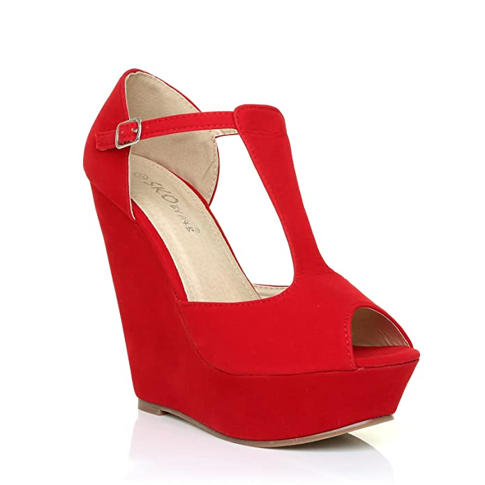 7960c8a973f5 Vicky Red Faux Suede T-Bar Peep Toe Platform Wedge Sandals  Amazon.co.uk   Shoes   Bags