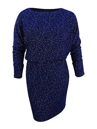 1b2dfe0db5a70 Jessica Howard Women's Glitter Blouson Sheath Dress (12, Black/Blue ...