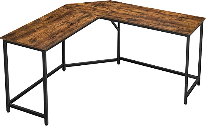 VASAGLE L-Shaped Computer Desk, Corner Desk for Study, Home Office, Gaming, Space-Saving, Easy Assembly, Industrial Design, Rustic Brown and Black ULWD73X