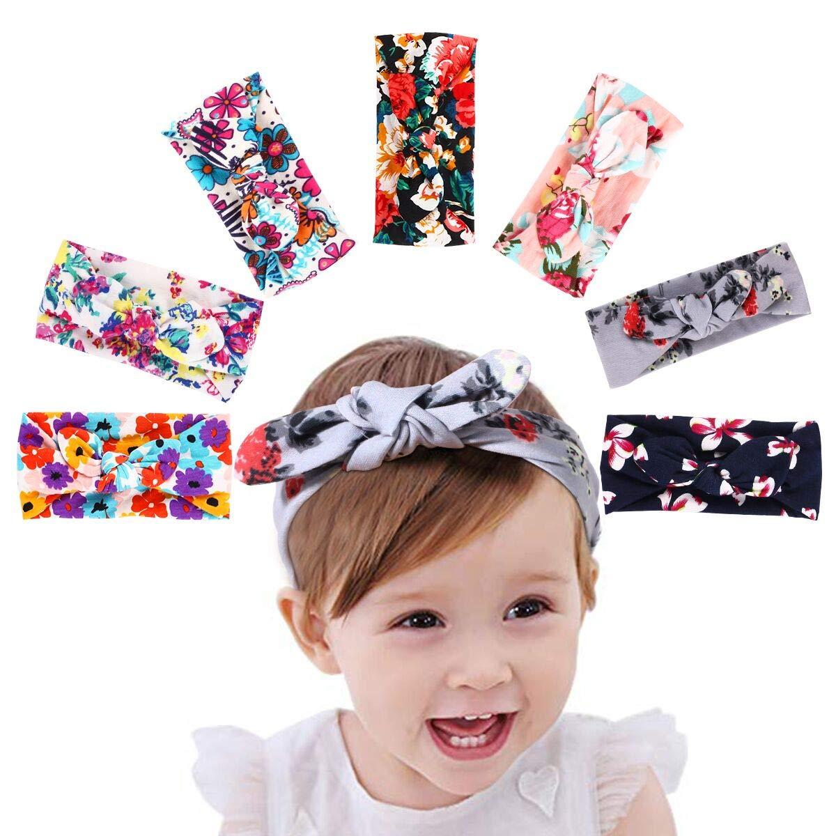 HBselect Baby Girl Headband 6 Pcs Cute Bowknot Hair Band Elastic Turban