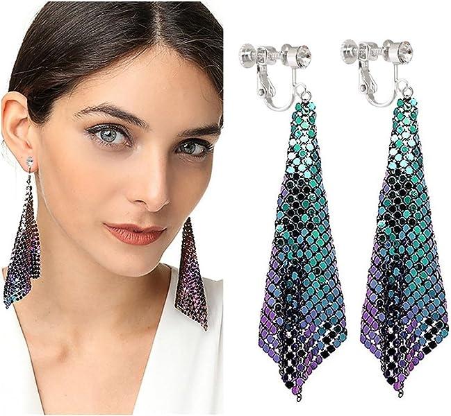 Ladies 925 Sterling Silver Multi-Color Crystal Tassel Drop Dangle Hook Earrings