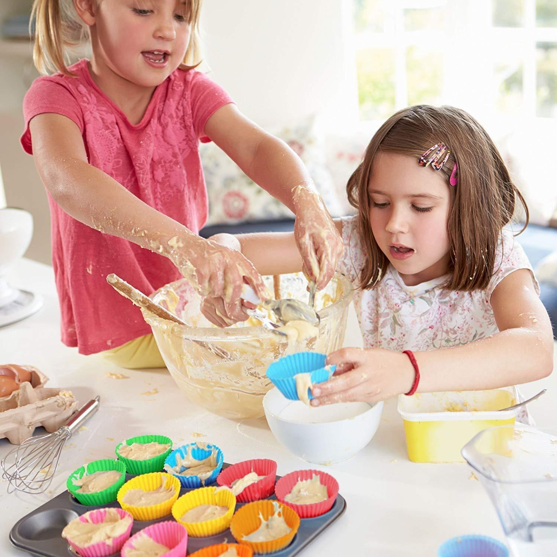 Avana Pirottini per Muffin riutilizzabili in Silicone di Alta qualit/à per Cupcake e Muffin ecologici Set da 20 Pezzi 7 Colori