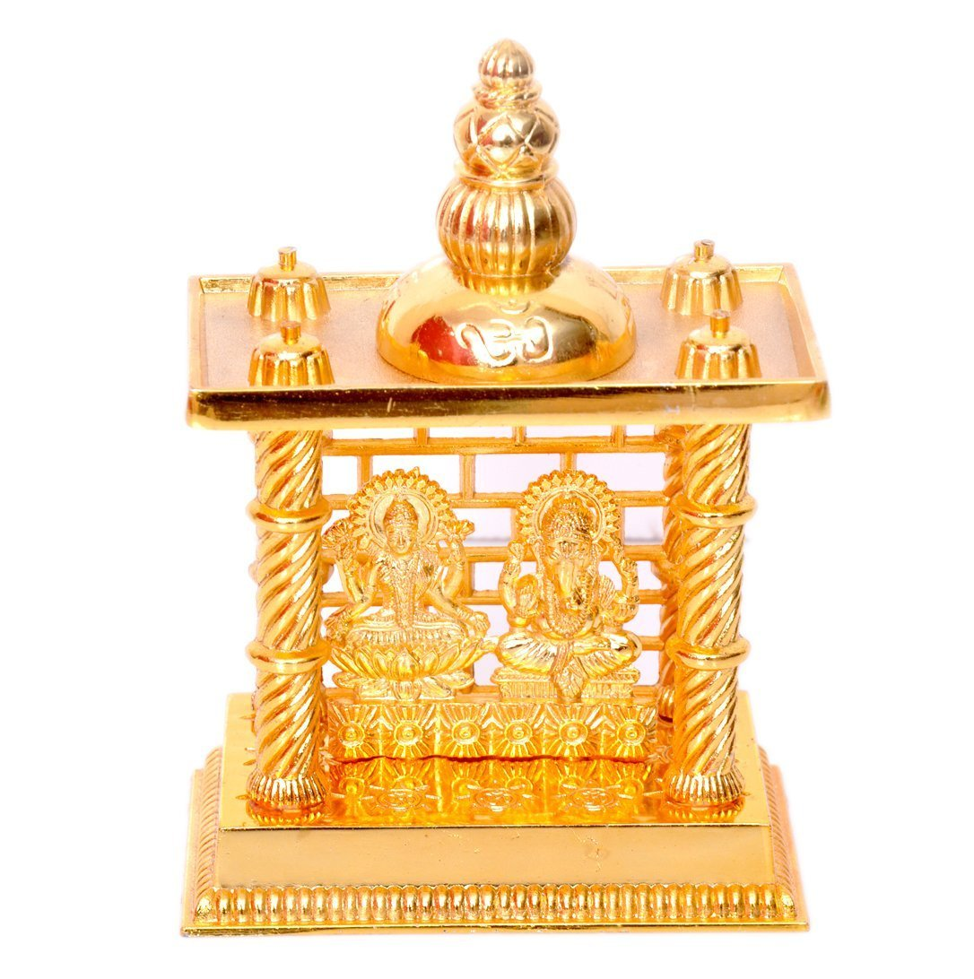 Hashcart (4.5 Inch Laxmi Ganesh Mandir- Brass Plated Especially For Diwali Puja And Gift Purpose HC-BR-TP-LG440