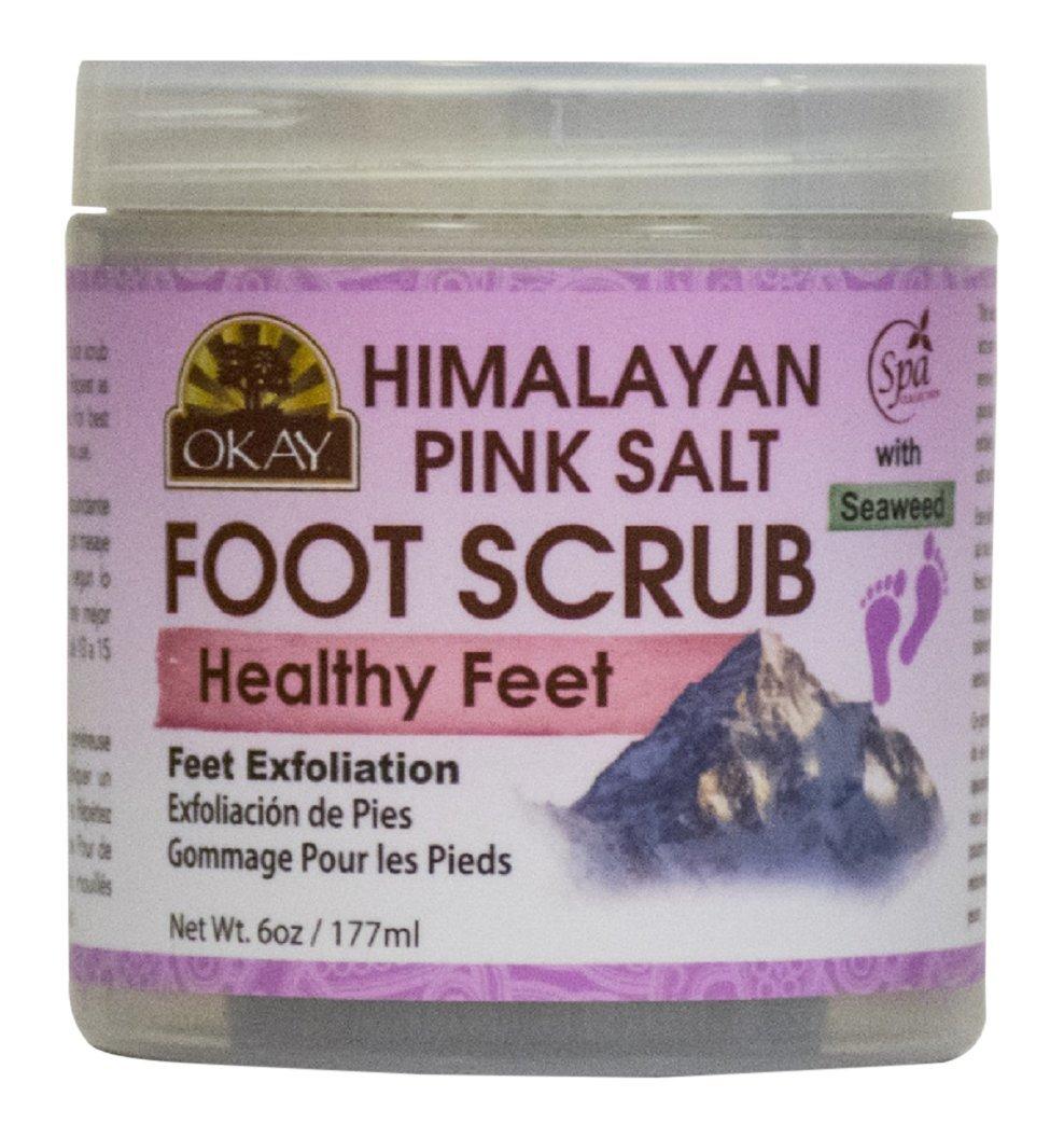 OKAY Himalayan Pink Salt with Seaweed Foot Scrub, 6 Ounce: Beauty
