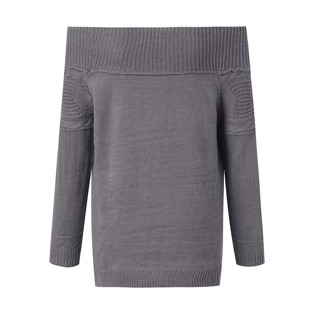 Fuxitoggo Suéter de Manga Larga sin Tirantes sólido Trenzado ...