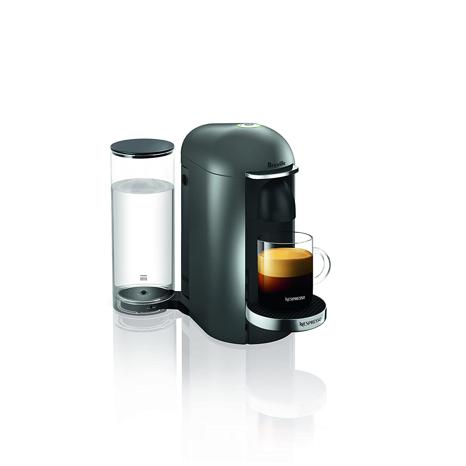 Nespresso VertuoPlus Deluxe Coffee and Espresso Machine by Breville, Titan