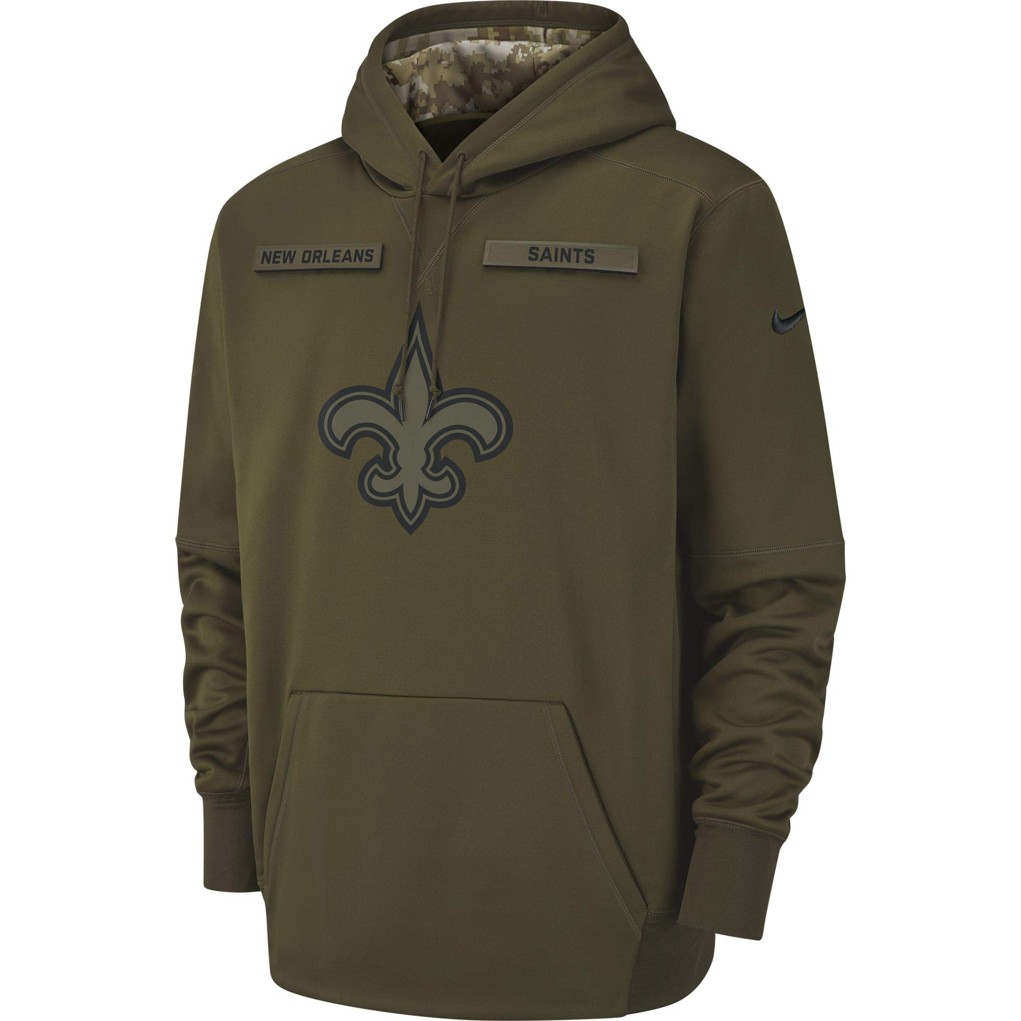 Nike Men's New Orlean Saints Therma Fit Pullover STS Hoodie Olive Canvas/Black Size Medium