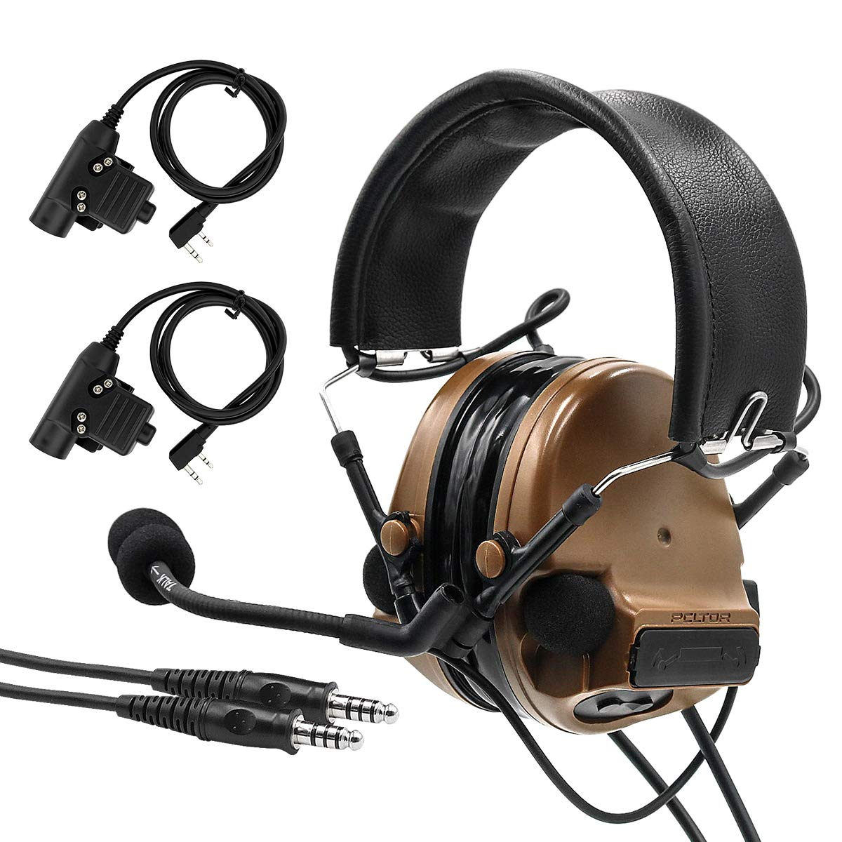 TAC-SKY COMTAC III Double Plugs Tactical Headset,Ear Protection,Sound Amplification for Airsoft Sport (Coyote Brown) by TAC-SKY