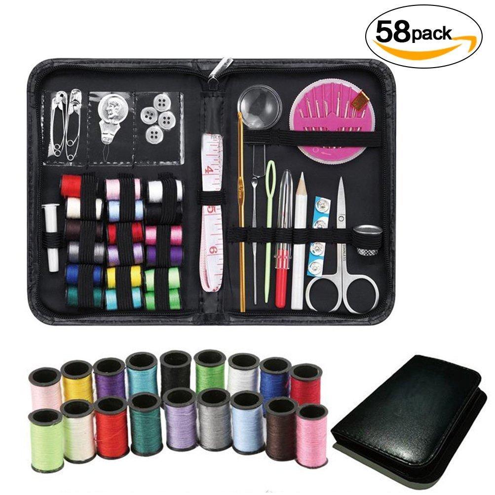 GYOYO Kit de couture professionnel de 56 pièces, Comprend une paire de ciseaux, un mètre-ruban, une loupe, des bobines de fil, des boutons, etc. Kit de voyage Noir