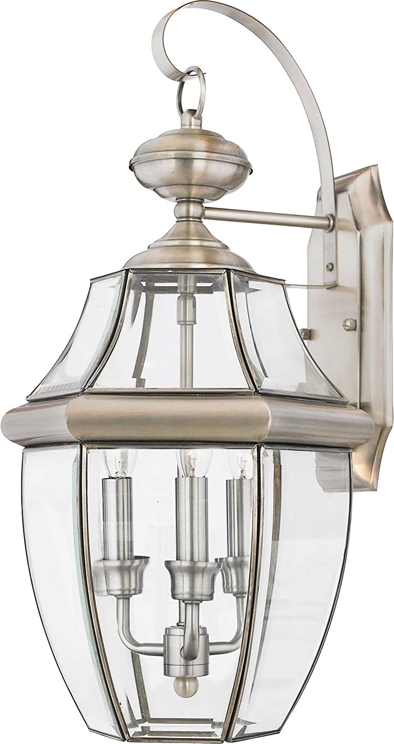 Outdoor Lantern Pewter Steel Porch Light Wall Mount Clear Beveled Glass Sconce