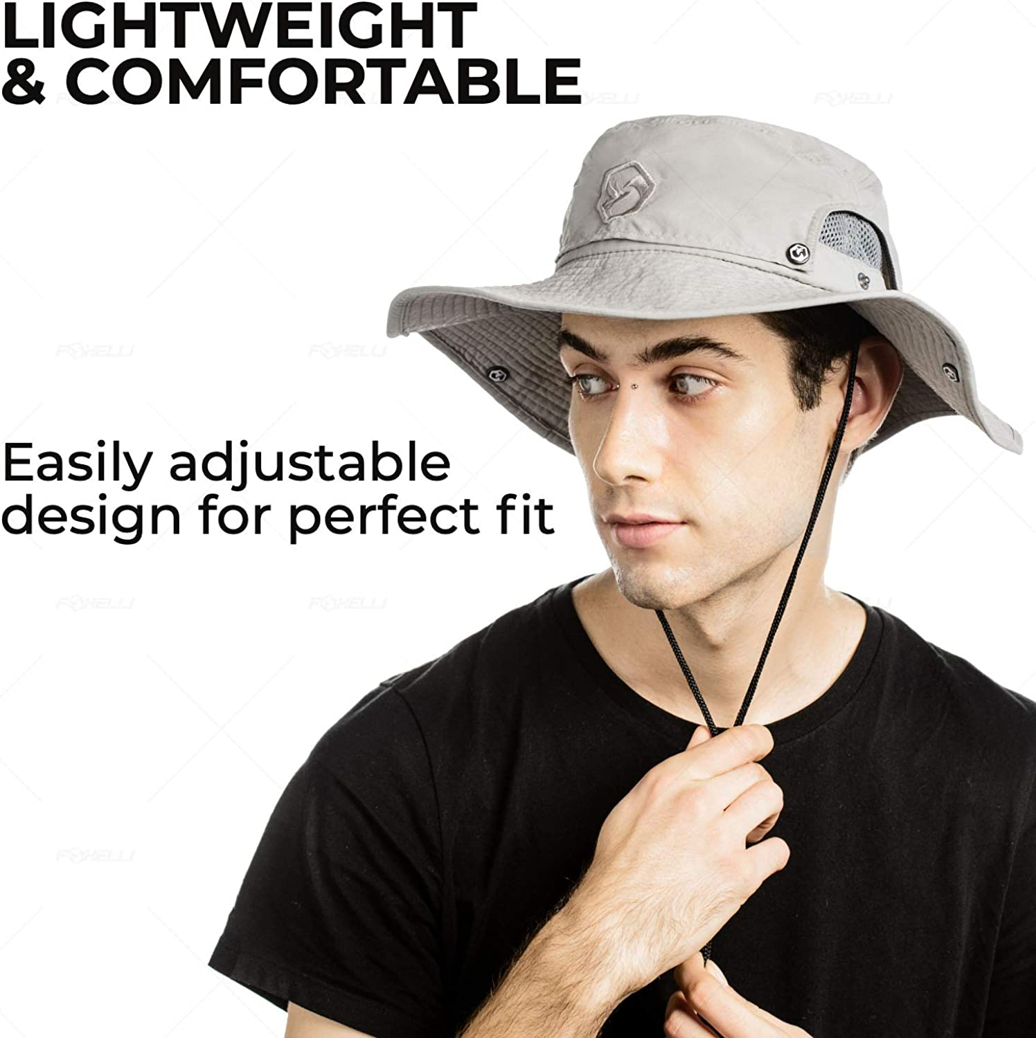 Breathable Outdoor Safari Hat Foxelli Boonie Hat for Men and Women Wide Brim Great for Fishing UPF 50+ Sun Hat Hiking or Beach Grey