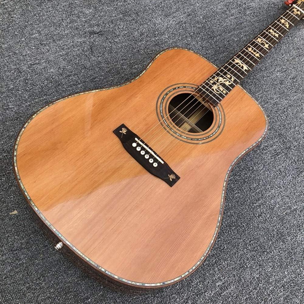 Guitarra acústica de pino coreano sólido, diapasón de ébano ...